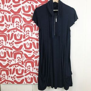 Kensie Midi French-Terry Short-Sleeve Dress